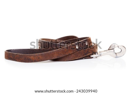 retro vintage old brown leather leash , isolated on white background - stock photo