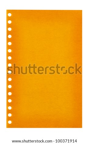 Retro vintage orange page ripped off from the notebook - stock photo