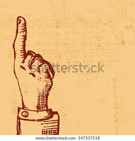 retro Vintage pointing hand drawing - vector version in portfolio - stock photo