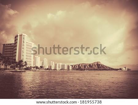Retro Vintage Style Black And White Photo Of Waikiki Beach, Hawaii - stock photo