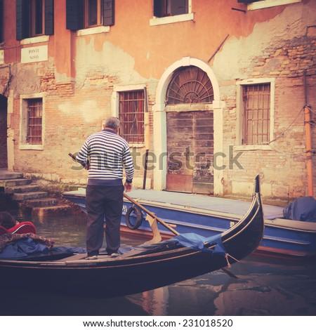 Retro VIntage Style Photo Of A Gondola In Venice Italy - stock photo