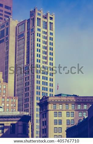 Retro Vintage Style Photo Of The Historic Buildings Of Downtown Boston, Massachusetts - stock photo