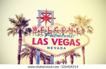 Retro vintage toned Welcome To Las Vegas Sign, USA. - stock photo