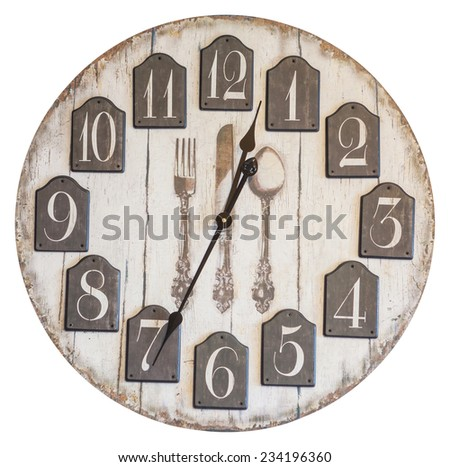 Retro vintage wall clock isolated on white background - stock photo