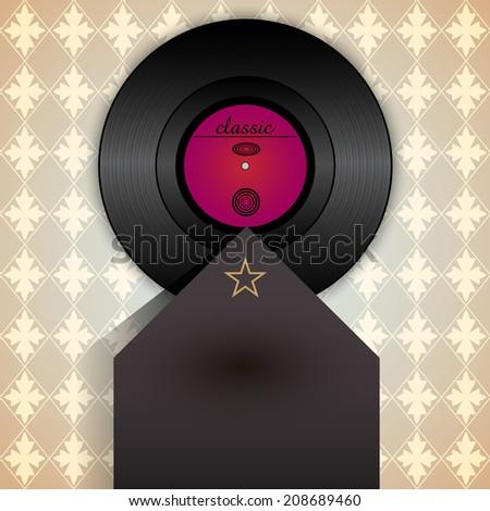 Retro vinyl music event poster background illustration - stock photo