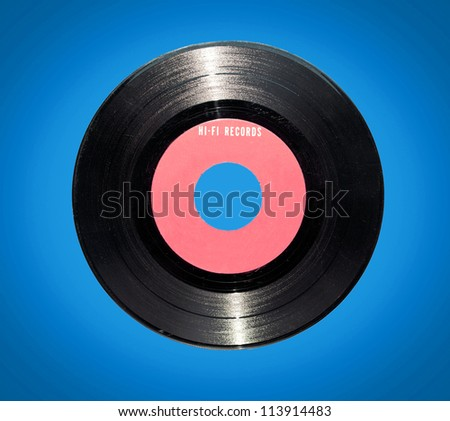Retro vinyl record on blue background