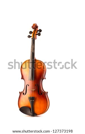 retro violin vintage isolated on white background - stock photo