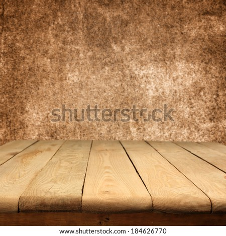 retro wall of brown and table  - stock photo