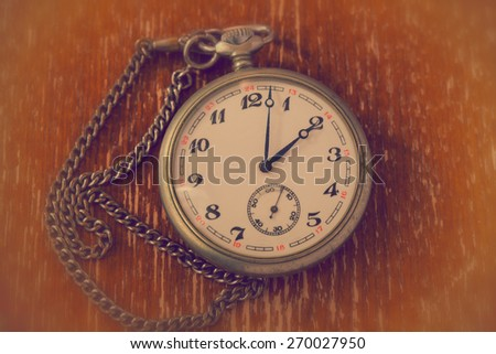 Retro watch and chain. vintage style - stock photo