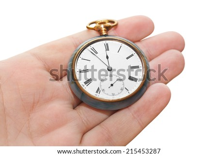 Retro watch in hand isolated on white background