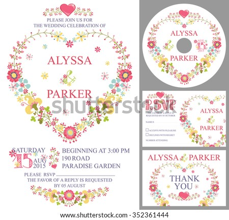 Retro wedding design template set with floral decor. Cute cartoon floral wreath in heart shape in retro style.Wedding invitation,cd,dvd,Thank card,RSVP card.Illustration - stock photo