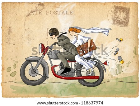 Retro wedding illustration. Just married. Groom and bride on the motorcycle , - stock photo