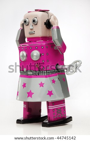 retro wind up robot - stock photo