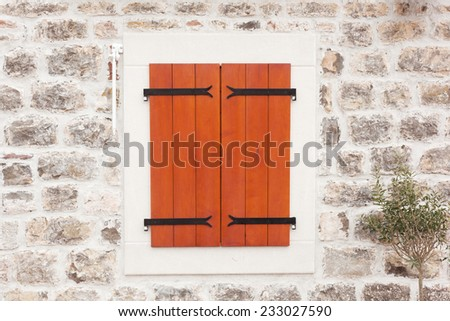 retro window with wooden shutters  - stock photo