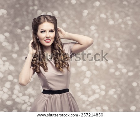 Retro Woman Hairstyle, Pin Up Girl Portrait, Elegant Model Make Up with Long Curly Hair - stock photo