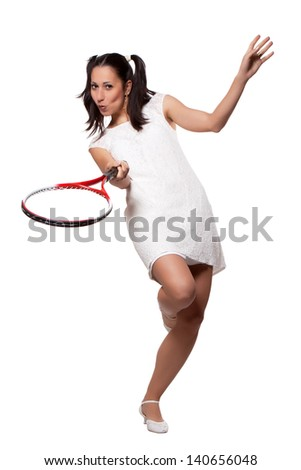 Retro woman in white dress, playing tennis, isolated on white background - stock photo