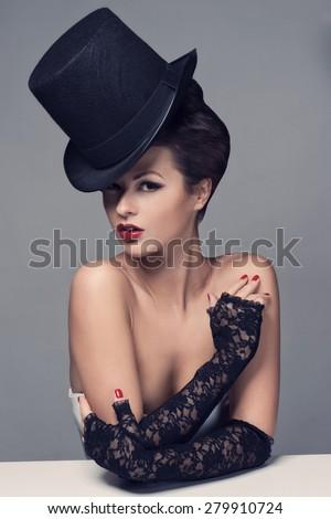 Retro Woman Portrait - stock photo
