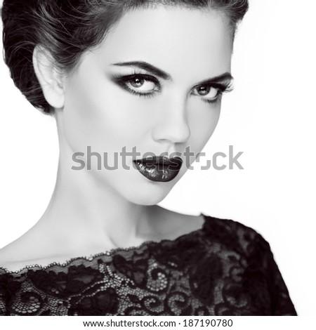 Retro woman portrait. Stare. Black and white photo. Vintage lady isolated on white background - stock photo