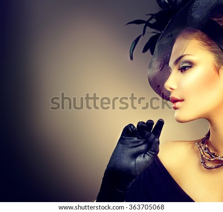 Retro Woman Portrait. Vintage Style Girl Wearing Old fashioned Hat and Gloves, Hairstyle and Make-up. Romantic lady - stock photo