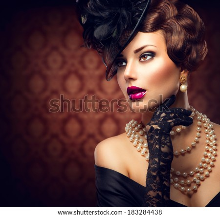 Retro Woman Portrait. Vintage Style Girl Wearing Old fashioned Hat and Gloves, retro Hairstyle and Make-up. Romantic lady - stock photo