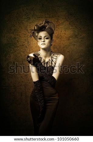 Retro Woman Portrait with black gloves - stock photo