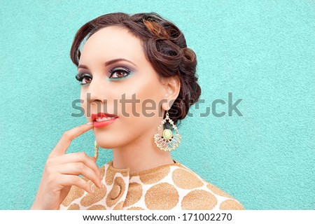 Retro woman thinking making decision - stock photo