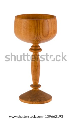 retro wooden wineglass tumbler isolated on white background.