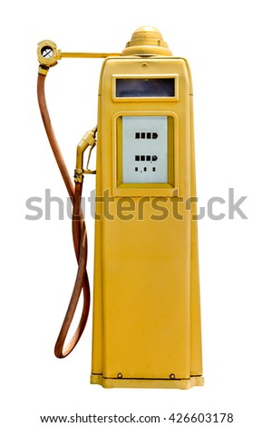 retro yellow petrol gasoline pump isolated in white background,clipping path - stock photo