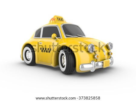 Retro yellow taxi car on a white background. Image contains clipping path. - stock photo