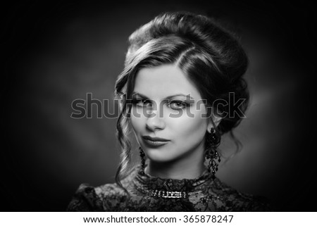 Retro young beautiful woman in stylish jacket