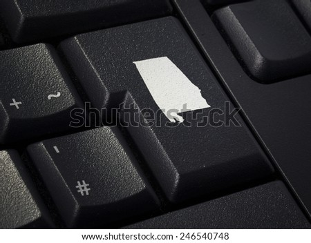 Return key in the shape of Alabama.(series) - stock photo