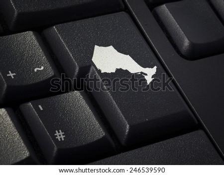 Return key in the shape of Ontario.(series) - stock photo