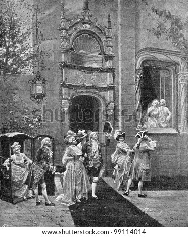 """Return of the guests. Engraving by Geshl from picture by  Alonzo Peretz. Published in magazine """"Niva"""", publishing house A.F. Marx, St. Petersburg, Russia, 1899 - stock photo"""