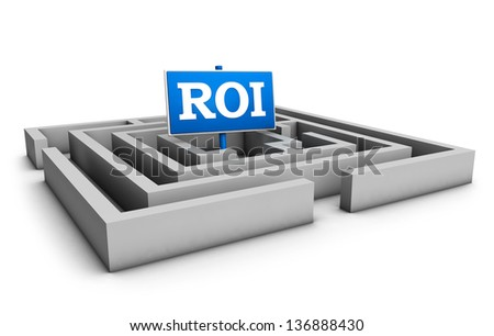 Return on investment business concept with labyrinth and blue roi word on white background. - stock photo