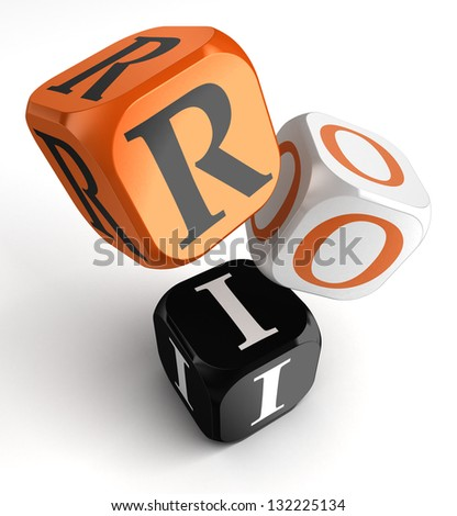 return on investment orange black dice blocks on white background. clipping path included - stock photo