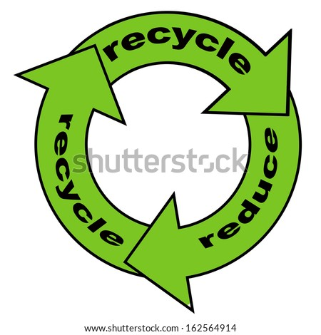 Reuse, reduce, recycle poster design concept with arrows in a circle flow