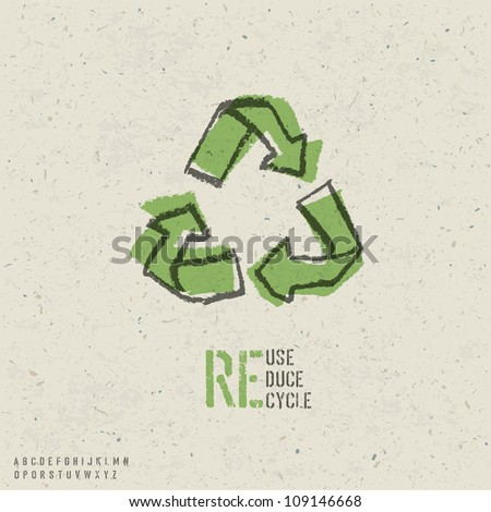 Reuse, reduce, recycle poster design.  Include reuse symbol image, seamless reuse paper texture in swatch palette and stencil alphabet. Raster version, vector file available in portfolio - stock photo