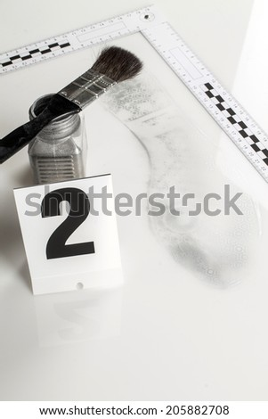 Revealing and preserving the shoe prints- investigation of the scene. - stock photo