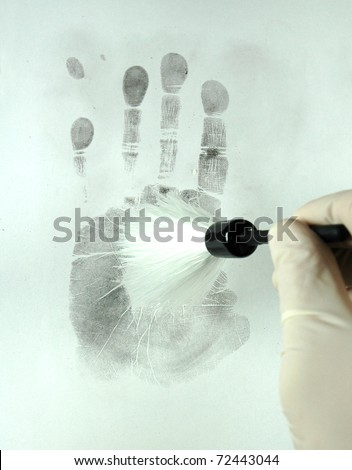 revealing the fingerprints with special brush