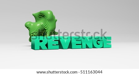 REVENGE -  color type on white studiobackground with design element - 3D rendered royalty free stock picture. This image can be used for an online website banner ad or a print postcard.