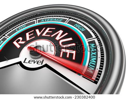revenue level conceptual meter indicate maximum, isolated on white background - stock photo