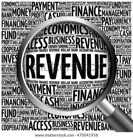REVENUE word cloud with magnifying glass, business concept 3D illustration