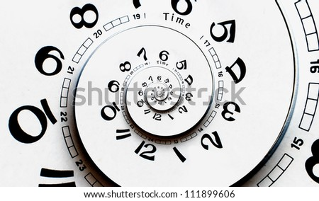 Reverced Twisted clock face. Time concept