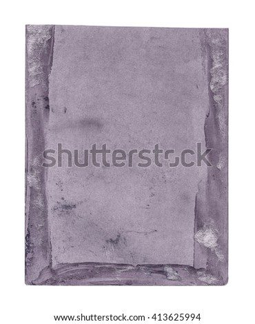 revers side of old photo painted violet isolated on white