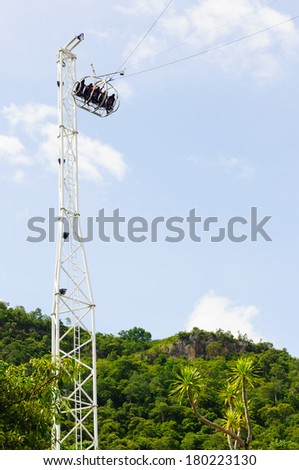 Reverse Bungee at theme park - stock photo