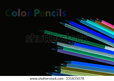 Reverse color of Color pencils isolated on white background close up