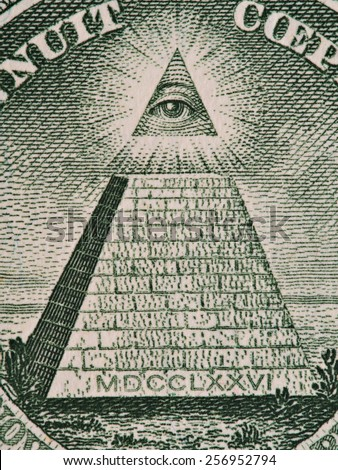 Reverse of US one dollar bill closeup macro, 1 usd banknote, great seal, pyramid and  all-seeing eye of God, united states money  - stock photo
