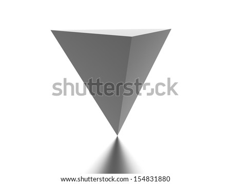Reverse pyramid element rendered on white background - stock photo