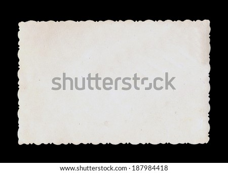 Reverse side of an old photo print with a decorative border.  - stock photo