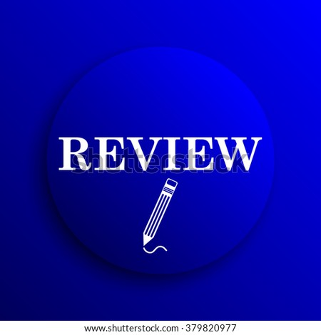 Review icon. Internet button on blue background.